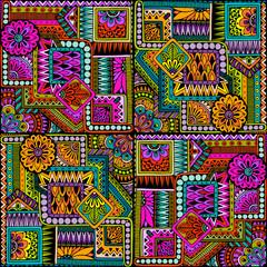 Fototapeta Wzory geometryczne Seamless asian ethnic floral retro doodle background pattern in vector. Henna paisley mehndi doodles design tribal pattern.