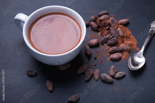 Foto op Plexiglas Chocolade Hot cocoa on the black background