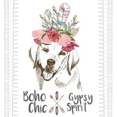 Naklejka Boho Vector close up portrait of labrador retriever, wearing the indian feather headpiece. Hand drawn domestic dog illustration. Traditional boho chic decoration, with aztec arrows, feather and flowers.