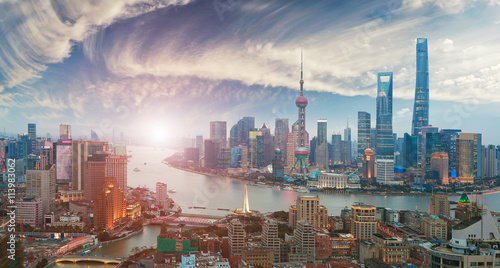 Foto op Aluminium Shanghai Aerial photography at Shanghai bund Skyline of sunrise