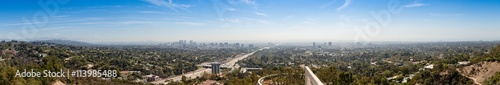 Panorama of Los Angeles skyline with sky and clouds