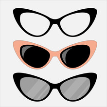 Cat Eyes Glasses Set, Flat Vector Icon