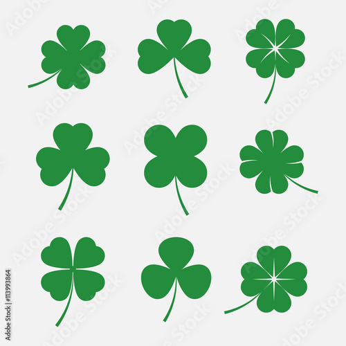 Foto Clover leaves vector set