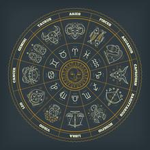 Zodiac Circle With Astrology Symbols. Vector Illustration.