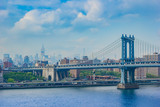Fantastic shot of the Manhattan Bridge with NYC skyscrapers in t - 114001455