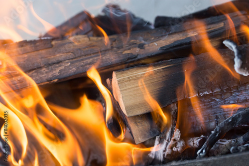burning wood in a brazier Wallpaper Mural
