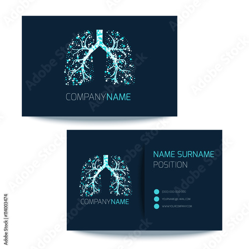 Medical Business Card Template With Lungs Filled With Air Bubbles On
