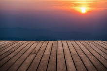 Perspective Empty Wooden Terrace With Mountain In Twightlight Ti