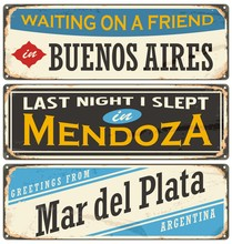 Retro Tin Sign Collection With Argentina Cities