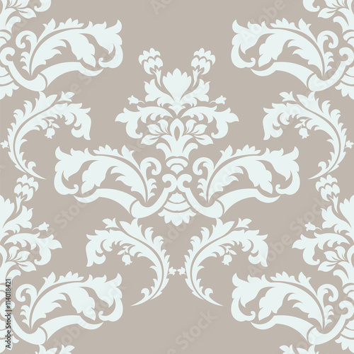 Vector Floral Damask Pattern Background Royal Victorian Texture