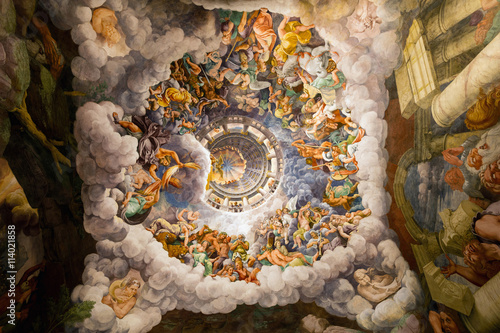 Fotografie, Obraz  16th century ceiling frescoes in the Room of the Giants at the Palazzo Te in Mantua, Italy, constructed 1524–34 for Federico II Gonzaga, Marquess of Mantua