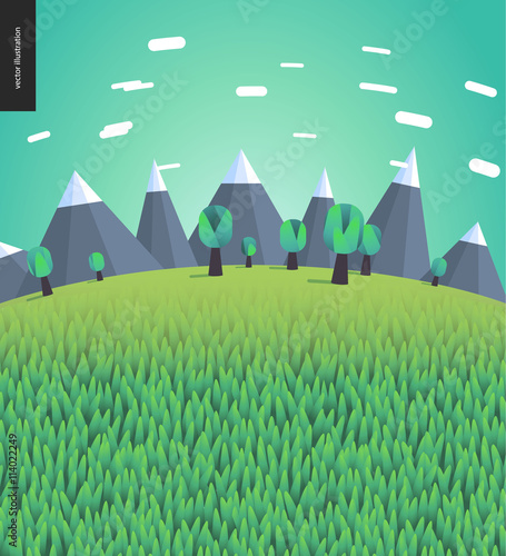 Poster Vert corail Flat illustrated landscape with mountains and trees on the background and field of grass on the foreground