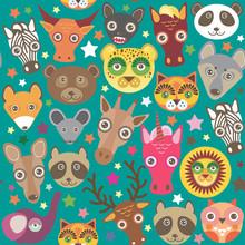 Set Of Funny Animals Muzzle Se...