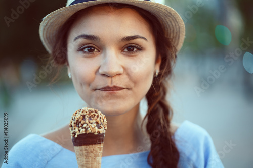 Valokuva  Closeup portrait of beautiful happy white Caucasian brunette girl woman with dim