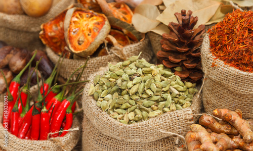 fototapeta na lodówkę Spices and herbs on white background for decorate spices content