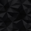 Black background. Abstract triangle crumpled texture.