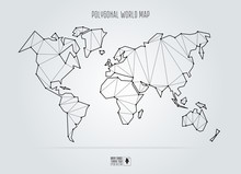 Polygonal Abstract World Map. Vector Illustration