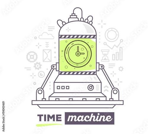 Obraz na płótnie Vector illustration of creative professional mechanism of time w