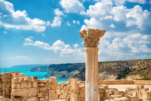 Photo Stands Cyprus ?uins of ancient Kourion. Limassol District. Cyprus