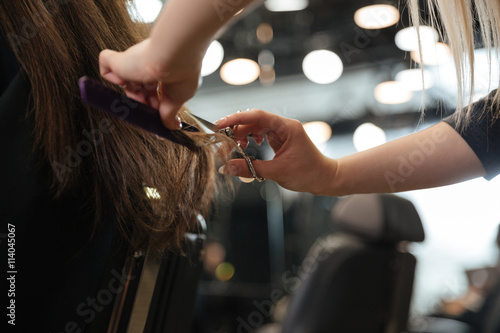 Fotografie, Obraz  Professional hairdresser making stylish haircut