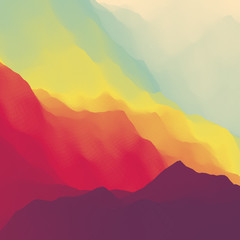 Panel Szklany Góry Mountain Landscape. Mountainous Terrain. Mountain Design. Vector Silhouettes Of Mountains Backgrounds. Sunset. Can Be Used For Banner, Flyer, Book Cover, Poster, Web Banners.