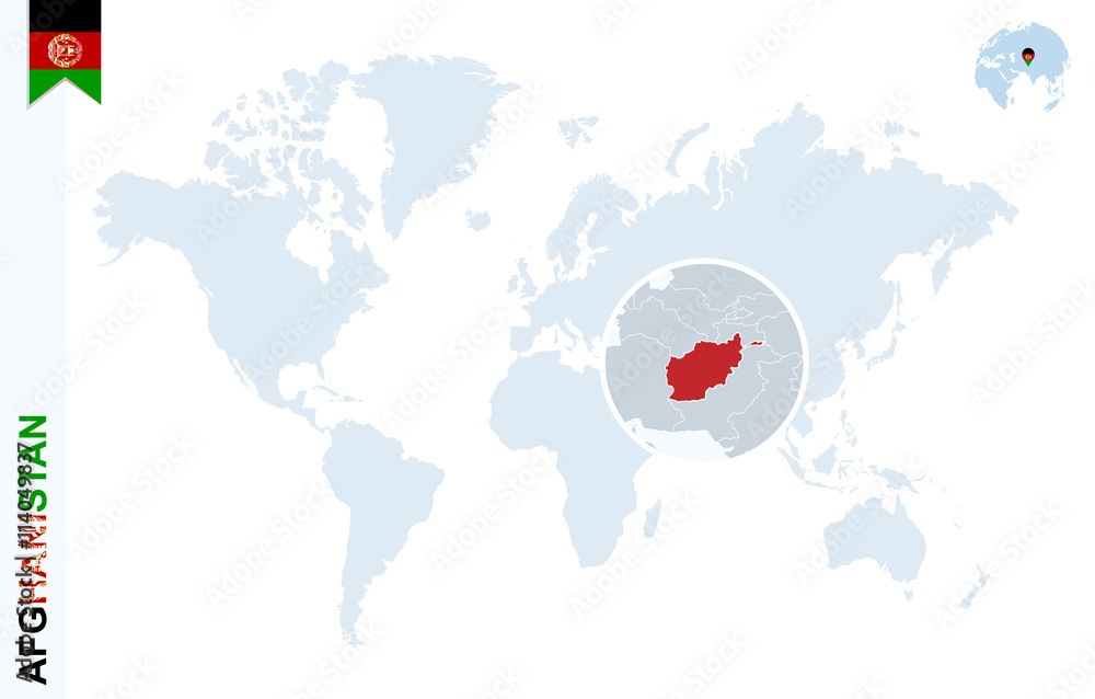 Blue world map with magnifying on Afghanistan. Foto, Poster ...