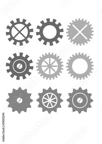 Cogwheel gear symbol  Flat cog icon set  - Buy this stock