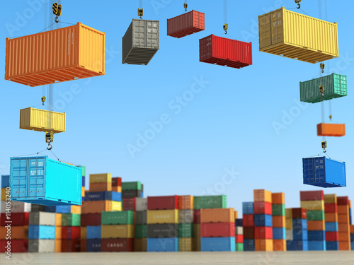 Photo Cargo containers in storage area with forklifts. Delivery  or sh