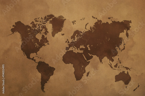 Foto op Canvas Wereldkaart Brown world map on old vintage paper parchment
