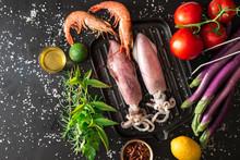 Calamari E Gamberi Con Ingredi...