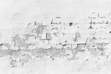 Concrete Wall With Peeling White Paint, Texture