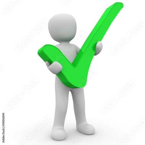 Photo  personnage 3D signe validé vert sur fond blanc
