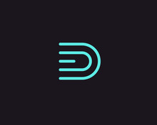 Line Letter D Logotype. Abstra...