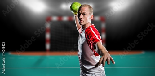 Composite image of sportsman throwing a ball