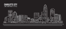 Cityscape Building Line Art Vector Illustration Design -  Charlotte City