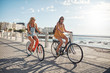 canvas print picture - Happy female friends riding bicycles on the seaside road