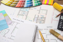 Color Samples With House Plan,...