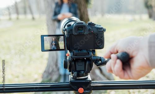 Fotografie, Obraz  Video shooting at the park