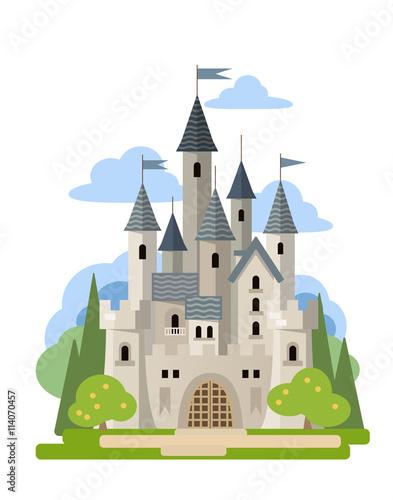 Light stone castle among the trees.  Vector flat illustration. Poster