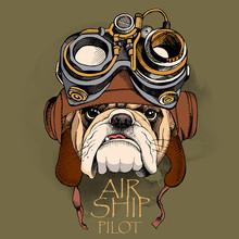 Bulldog Portrait In A Steampunk Helmet. Vector Illustration.