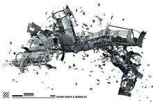 3D Scrap Space Ship Parts And ...