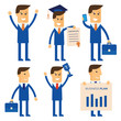Businessman set isolated vector