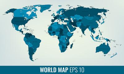 Fototapeta High Detail World Map. Vector