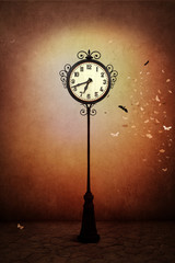 Fantasy illustration or poster, or background for  card with  street clock
