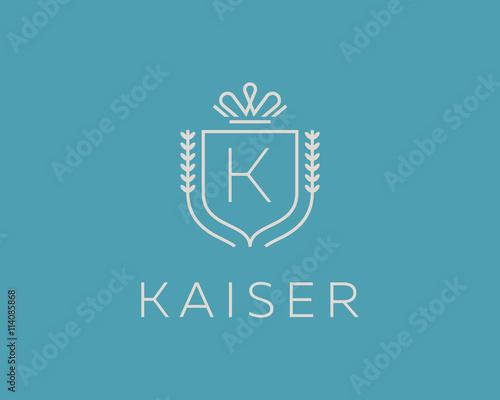 Elegant Monogram Letter K Logotype Premium Crest Logo Design