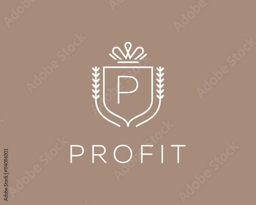 Elegant monogram letter P logotype Canvas