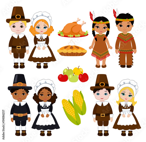 A group of kids - Indians and Pilgrims - sharing food for Thanksgiving Wallpaper Mural