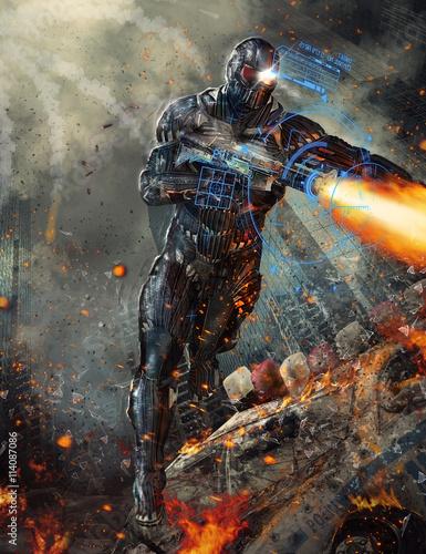 Photo Futuristic robot soldier illustration