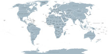 World Political Map. Detailed Map Of The World With Shorelines, National Borders And Country Names. Robinson Projection, English Labeling, Grey Illustration On White Background.