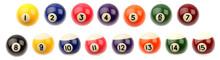 Fifteen Pool Snooker Balls On ...